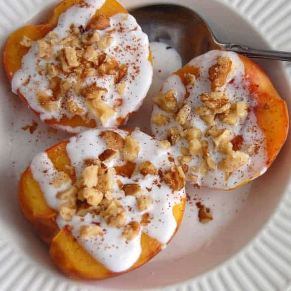 Grilled Peaches with Coconut Cream