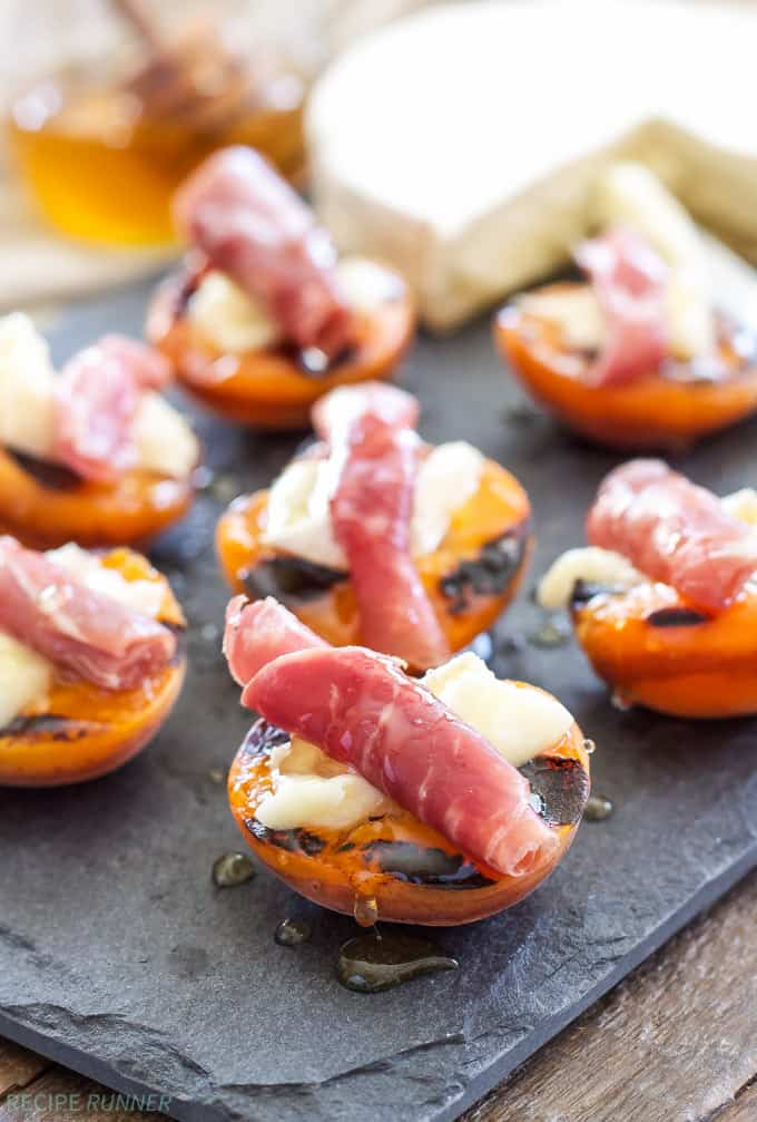 Grilled Apricots with Brie Prosciutto and Honey