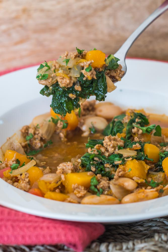 Butternut and Kale Chili with Ground Pork gluten free whole-30 low-carb healthy paleo soup-2