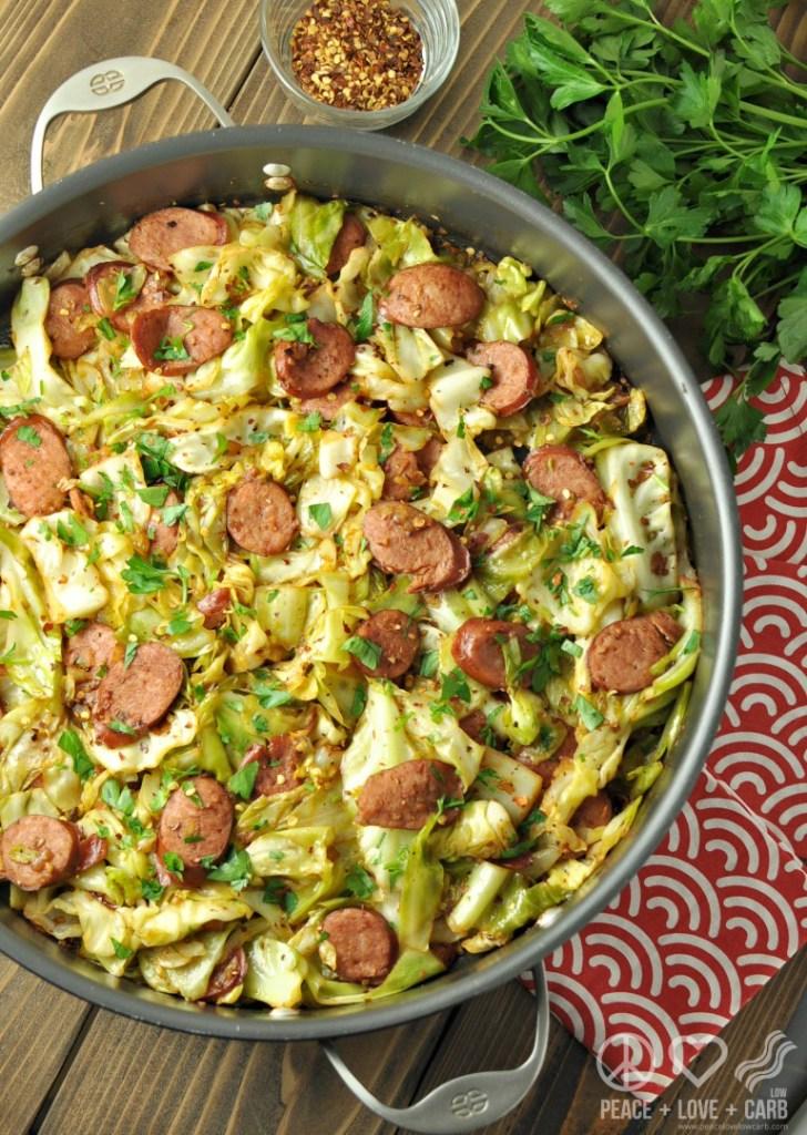 fried cabbage with kielbasa
