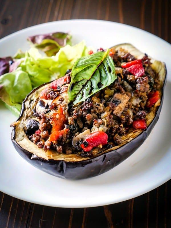 balsamic chicken stuffed eggplant