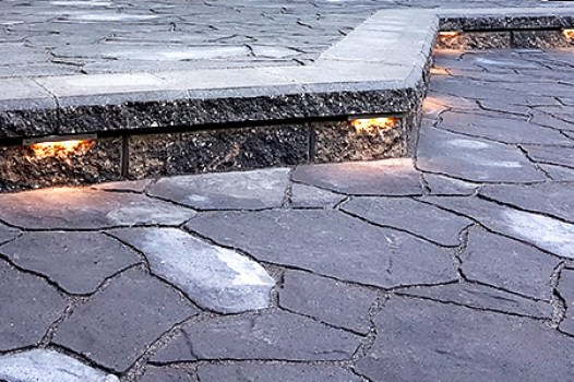 Living Earth Landscapes Paving Stone Patio with Lighting - Calgary Landscaping
