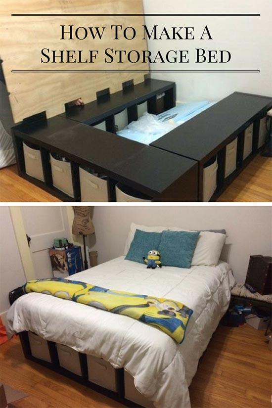 Creative Under Bed Storage Idea DIY Shelf Bed Storage