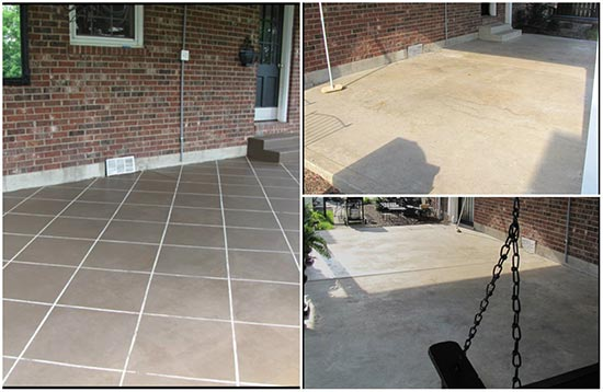 stain your concrete patio to look like tile