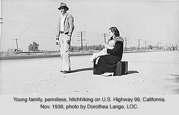 Destitute couple hitchhiking