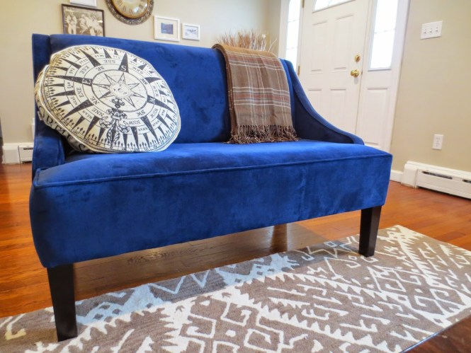 blue settee living room apartment