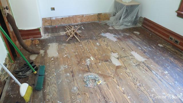 master bedroom renovation floors before