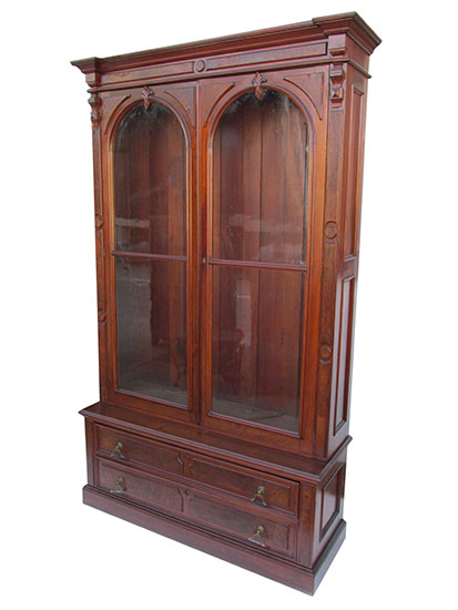 antique stepback bookcase cabinet glass doors