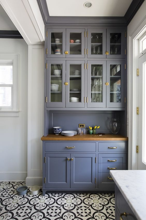 tall ceiling height glass upper cabinets victorian kitchen