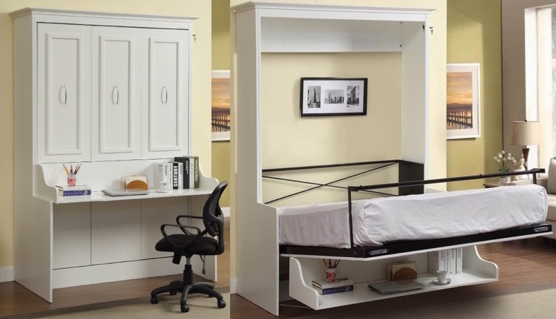 Bookcase bed and dining table in one space saving unit Living
