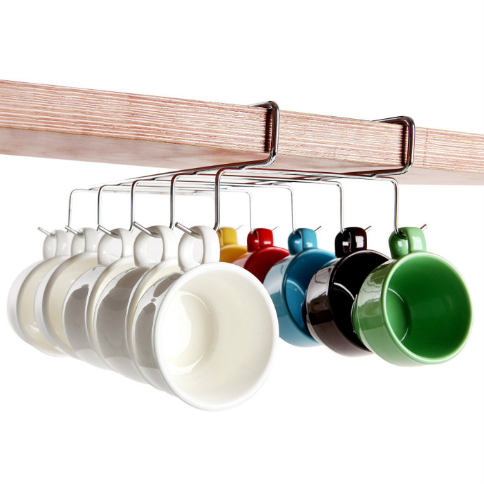 Under The Shelf 10 Hook Space Saver Espresso Cup Storage Drying Rack