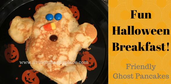 Halloween breakfast fun! Easy ghost pancake Halloween breakfast