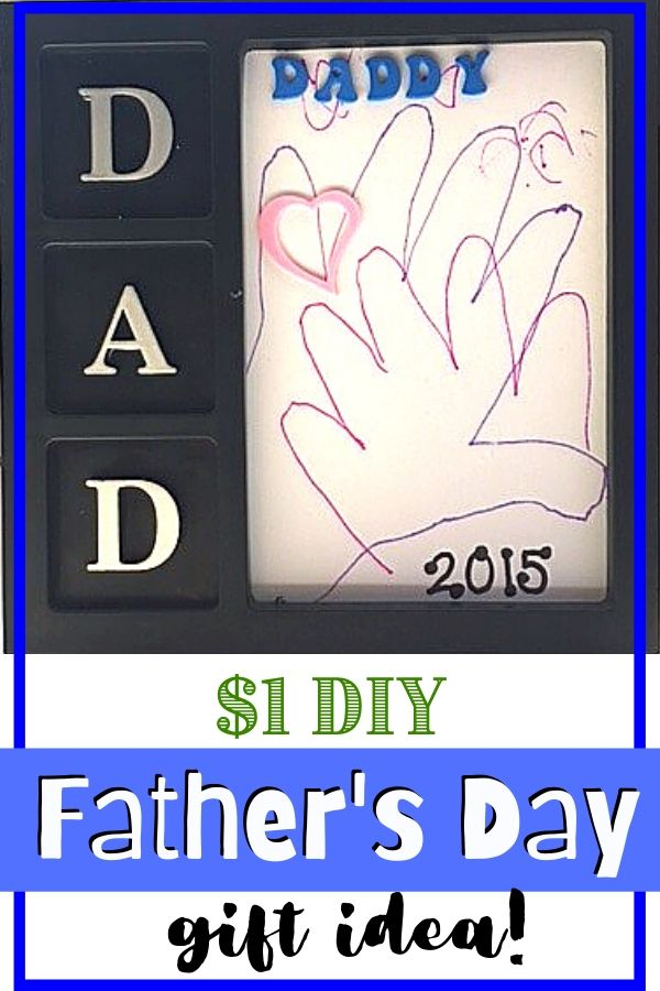 Dad frame with kids hand trace