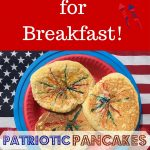 red and blue striped pancakes with text Fun Pancake breakfast