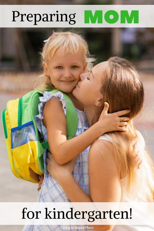 mom kissing school girl goodbye