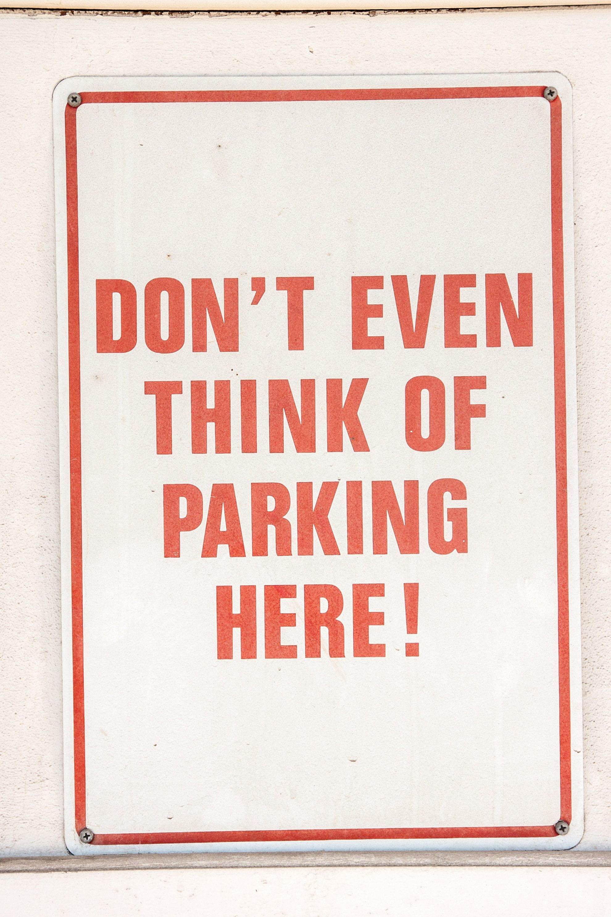 Don't even think of parking here! Car seats inside