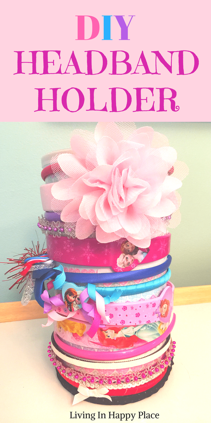 DIY headband holder or organizer for baby, girl, or women. Easy tutorial on how to make a headband holder stand to display in your nursery or hold bows and headbands for girls! #headbandholder #headbands #bows #headbandstand #diyheadbandholder