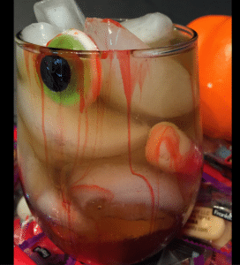 halloween drink with eyeball gummy