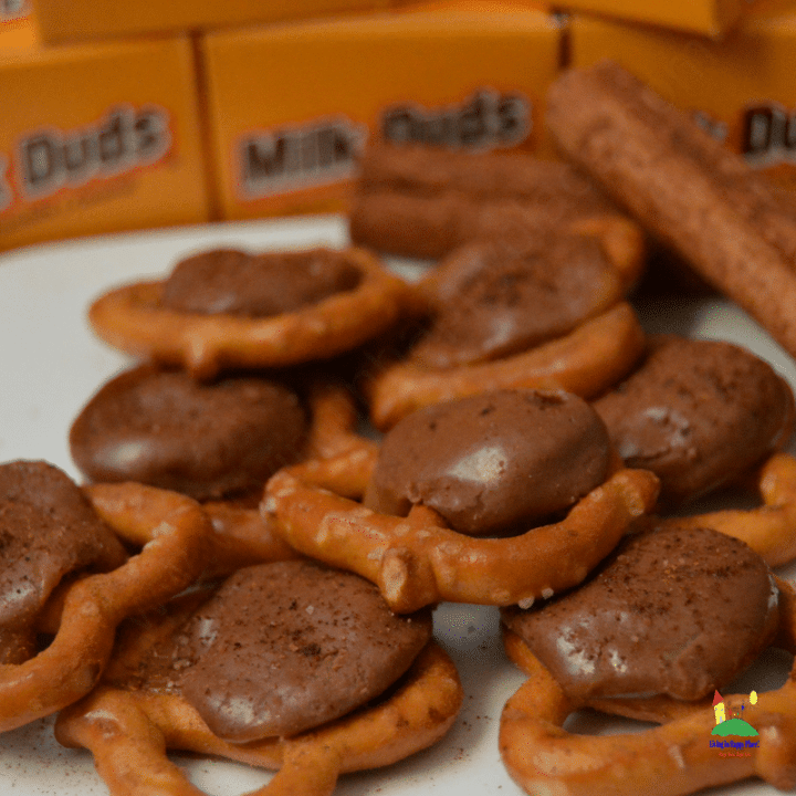 Milk Duds Pretzel Snaps with sweet cinnamon dusting