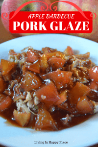 Apple BBQ Pork Glaze or pork sauce is the perfect addition to your easy dinner recipe! Spice up a boring pork tenderloin recipe, pork chop recipe, or pork loin recipe with the perfect blend of sweet apples, tangy barbecue, and a touch of honey.