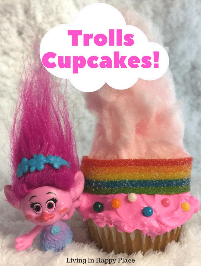 Cotton Candy hair rainbow Trolls Cupcakes idea