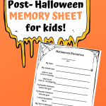 Halloween Memory Sheet for kids