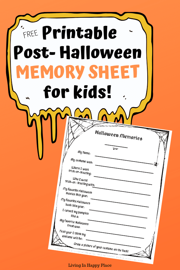 Halloween Memory Sheets to hold on the Halloween memories with your little monsters!