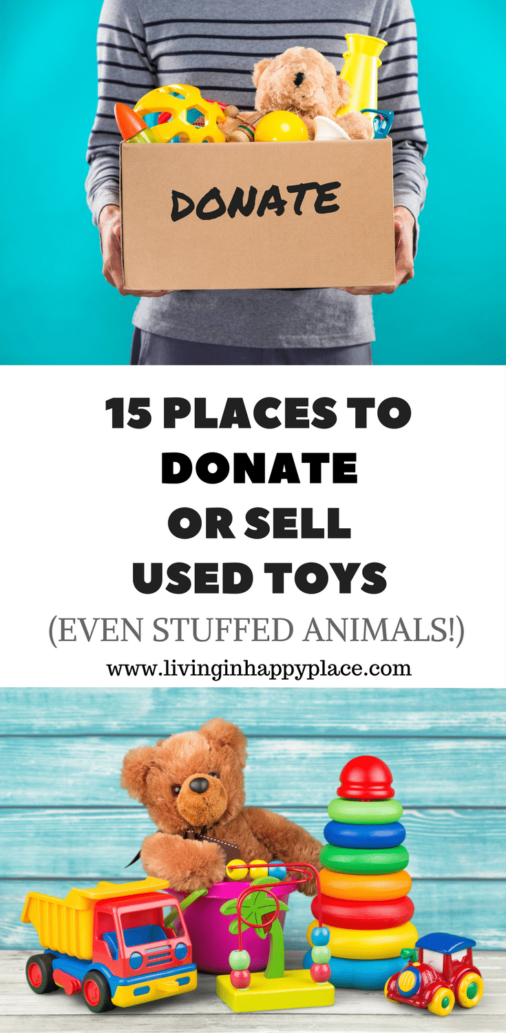 15 Places to donate used toys or sell used toys. Clean out kids' toys for Christmas