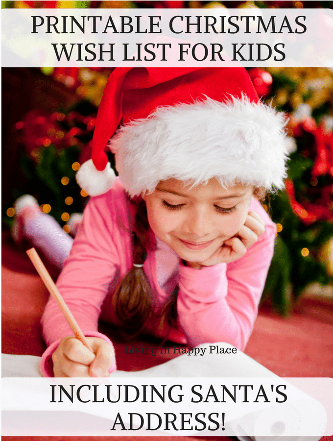 Free printable Christmas list for kids- including Santa's address. Let kids send a letter to Santa using this template. Get Santa's address at the North Pole!