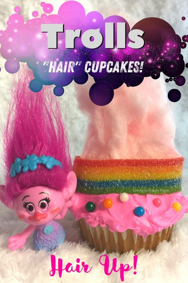 Trolls cupcake with cotton candy hair