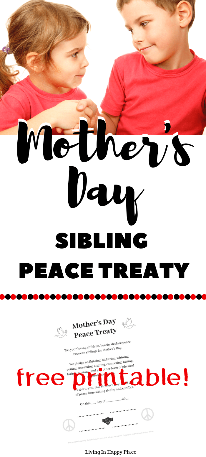 Sibling peace treaty mothers day gift