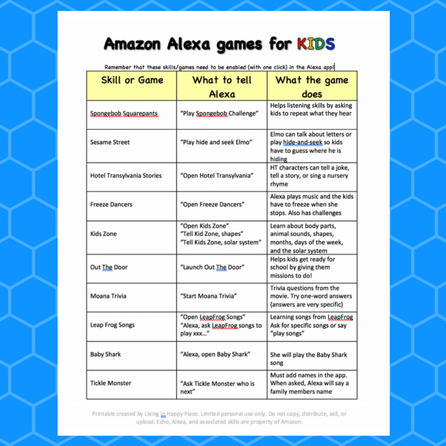 Amazon Alexa games for kids printable list