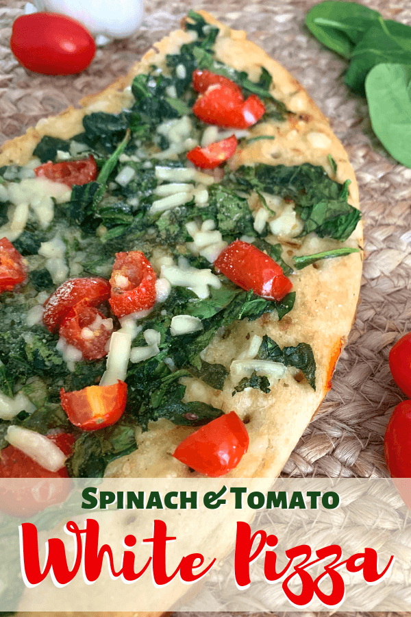 Spinach and Tomato White Pizza with Garlic Butter Sauce