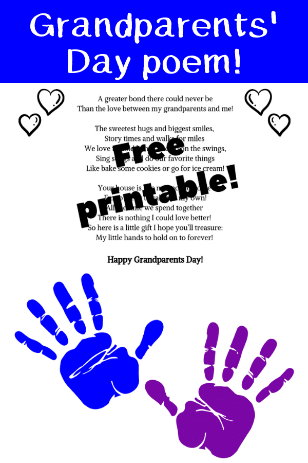 Adorable Fingerprint poem for Grandparents Day from kids! Free printable!