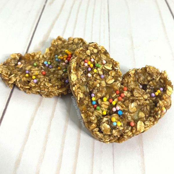 heart shaped banana oat cookies with sprinkles