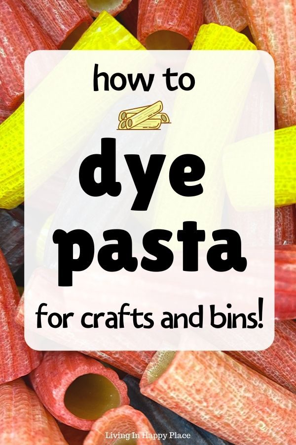How to dye pasta with food coloring and vinegar or alcohol for kid's crafts and sensory bins!