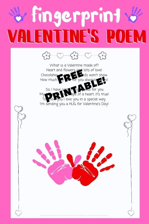 Valentine's Day Fingerprint Poem for kids! Heart-shaped handprint and poem for Valentine's Day!
