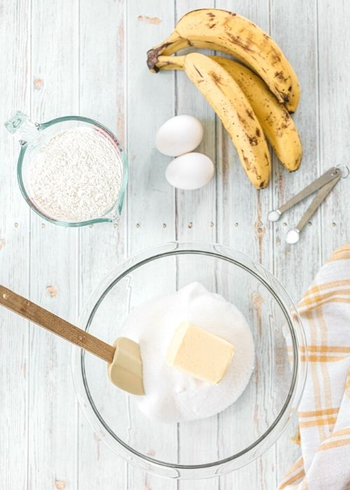 Banana bread ingredients in bowls
