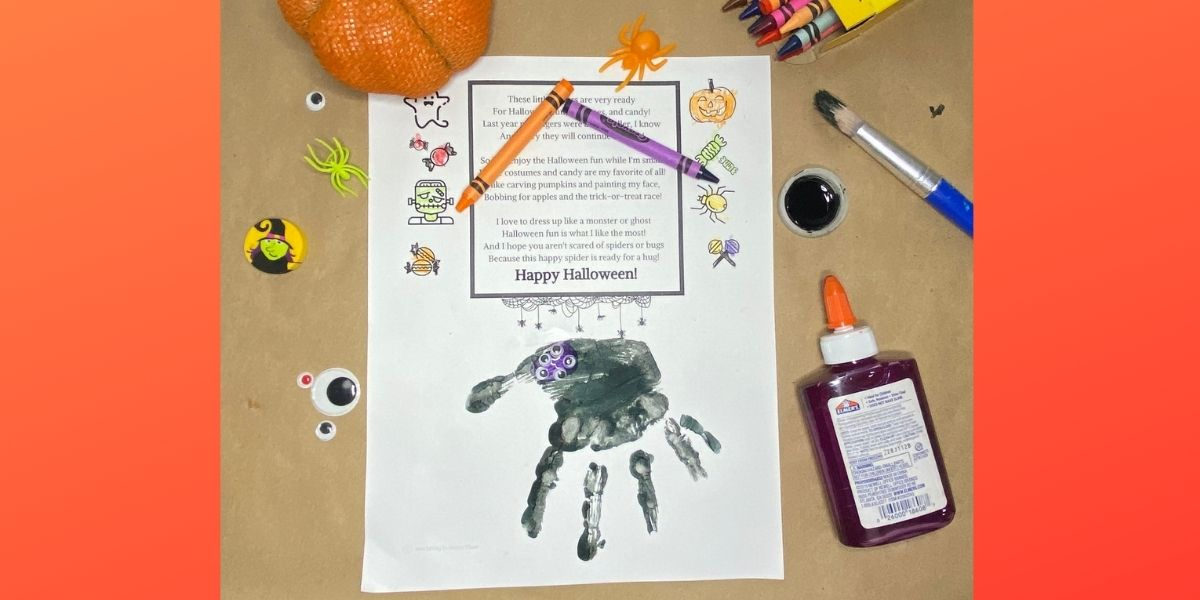 Halloween poem with handprint and art supplies