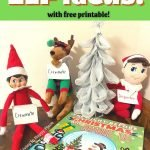 elf on the shelf with Christmas book text reading 25 days of Elf on the Shelf printable