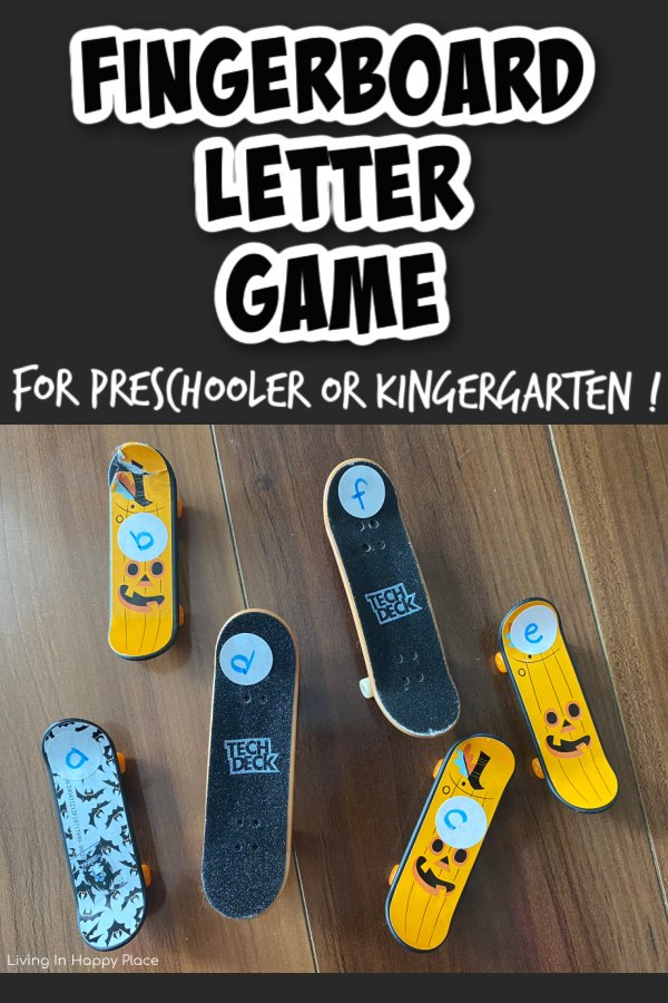 fingerboards with letter sticks on wood with text Fingerboard Letter Game
