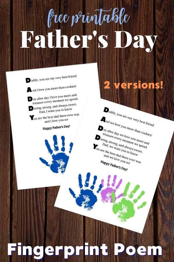 White paper with poem and handprint and text reading Father's Day Fingerprint Poem
