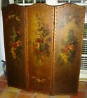 Antique Italian 3 Panel Leather Hand Painted Flowers Screen Or Room Divider Rare