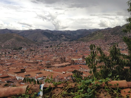 View of Cusco from above. You can't tell from the picture, but at this point we were crawling on our hands and knees.