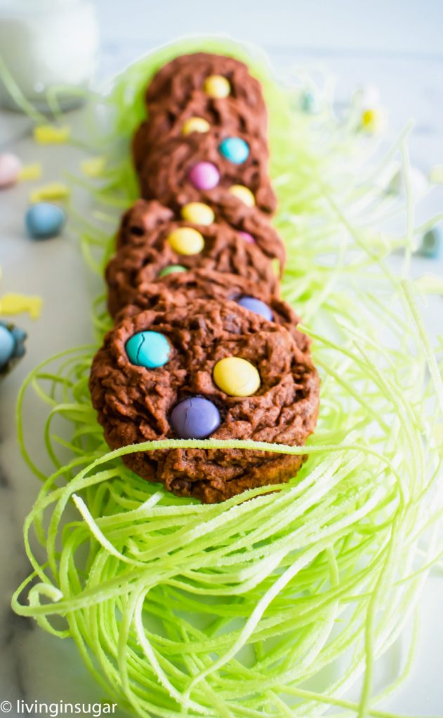 Chocoalte Easter Cookies lined up on edible grass