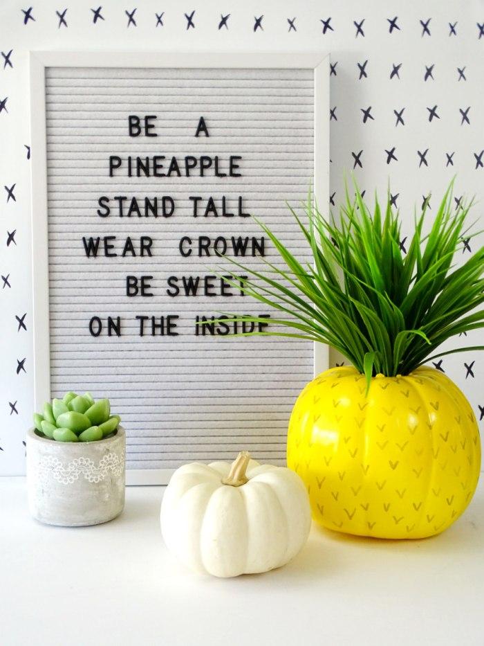 diy pumpkin turned into a pineapple