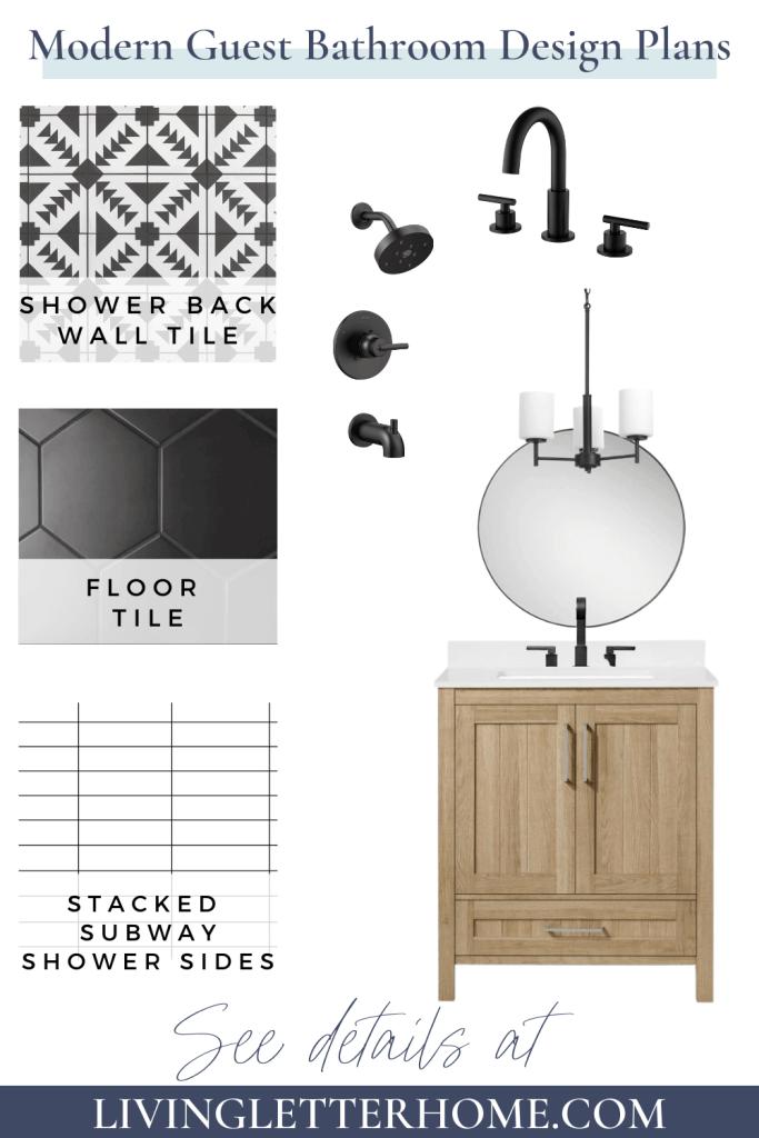 black and white modern bathroom design with wood vanity
