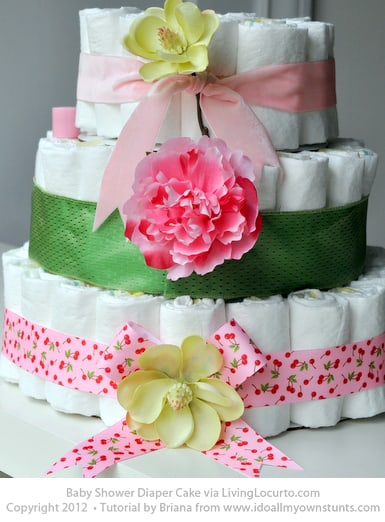 Baby Shower Diaper Cake Tutorial