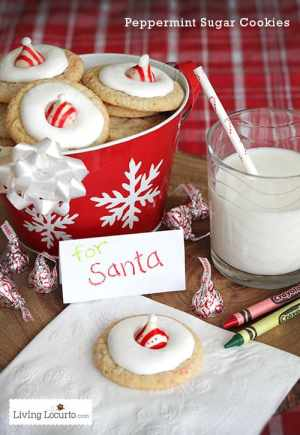 Peppermint Sugar Cookie Recipe - Delicious cookies that look like Santa Hats! LivingLocurto.com