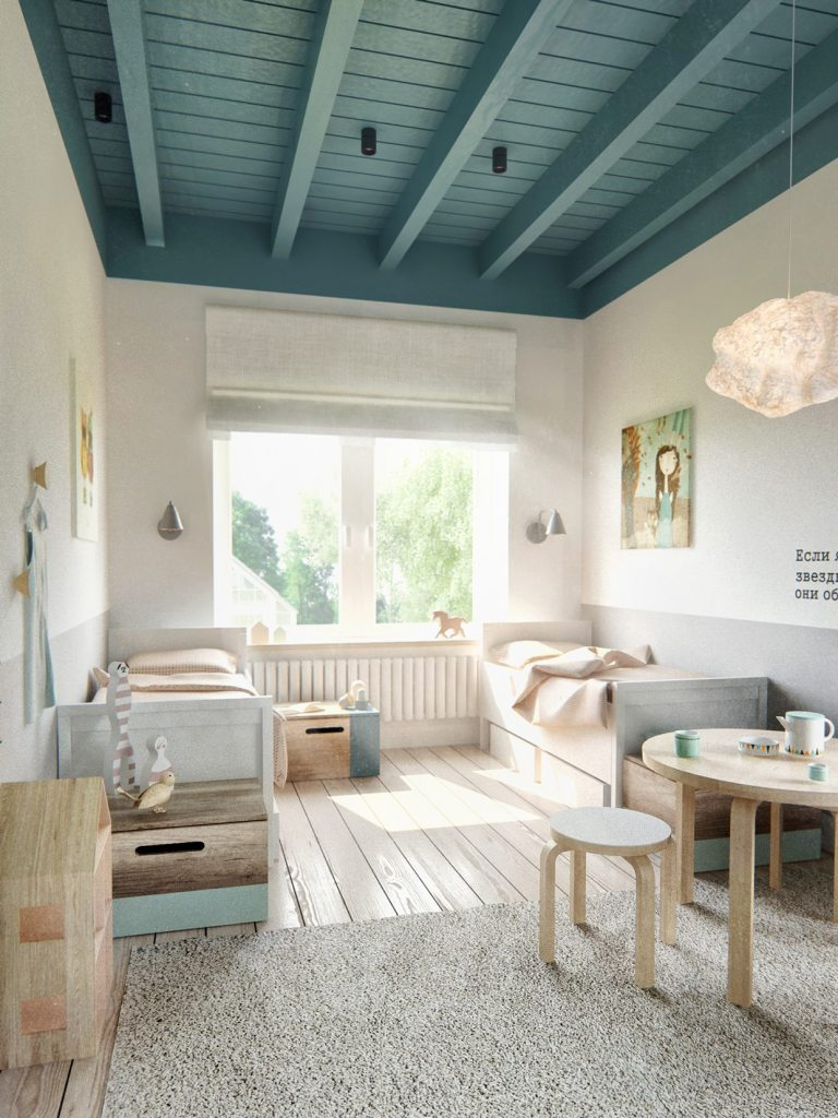 scandinavian teal-ceiling-beams